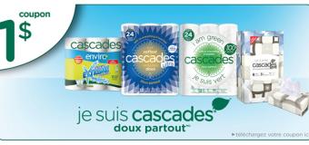 Coupons rabais Québec 1$ à l'achat de produits Cascades !