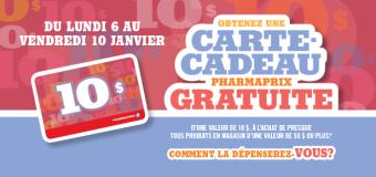 Carte-cadeau 10$ gratuit chez Pharmaprix !