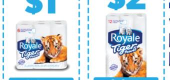 Nouveaux coupons de 2$ ou 1$ sur Royal Tiger Towel