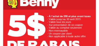 Coupon rabais Les Rôtisseries Benny