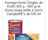 Coupon rabais Kraft et Campbell's