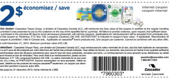 Coupons rabais Québec 2$ à l'achat de produits Cascades !