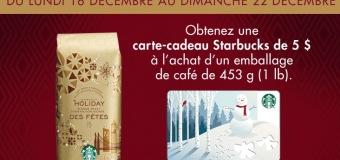 Carte-cadeau 5$ Starbucks GRATUITE !