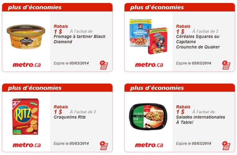 Coupons rabais Québec Metro