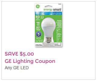 Coupon rabais 5$ sur les ampoules GE Lighting!