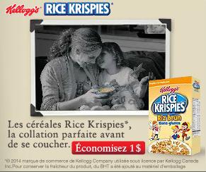 Coupon rabais Québec 1$ céréales Rice Krispies
