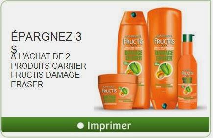 Aubaine de la semaine produits Garnier Fructis à 1$ après coupon !