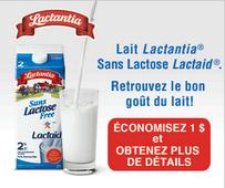 Coupon rabais de 1$ sue le lait Lactia sans lactose.