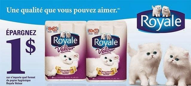 Coupon rabais 1,00 $ sur le papier hygiénique Royale Velour !