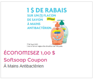 Coupon rabais 1$ savon Soft Soap