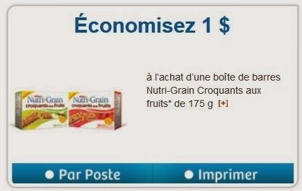 Coupon rabais 1$ sur les barres Nutri-Grain Croquantes aux fruits!