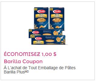 Coupon rabais 1$ Pâte Barilla Plus