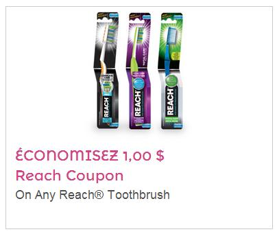 Coupon rabais 1$ sur les brosses à dents Reach!