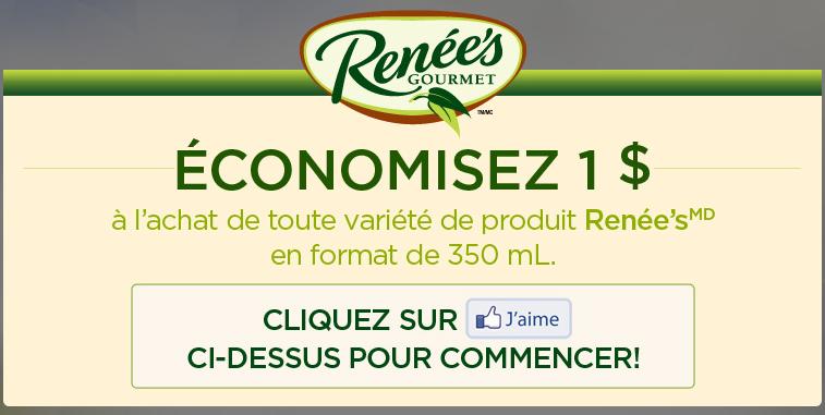 Coupon rabais (WebSaver) à commander ou imprimer sur les produits Renée's