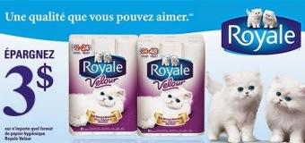 Économisez 3,00 $ sur le papier hygiénique Royale Velour