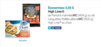 Économisez 2$ sur High Liner Portions marinées ou de Languettes Poêlée sélecte